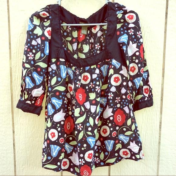 Anthropologie Tops - *Anthro* Fei Black Rock peasant blouse size 4